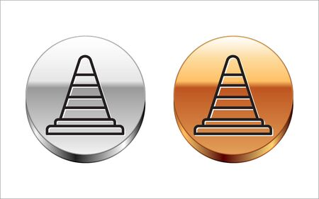 Black line Traffic cone icon isolated on white background. Silver-gold circle button. Vector Illustration
