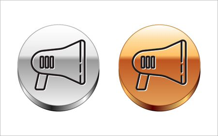 Black line Megaphone icon isolated on white background. Loud speach alert concept. Bullhorn for Mouthpiece scream promotion. Silver-gold circle button. Vector Illustration Ilustrace