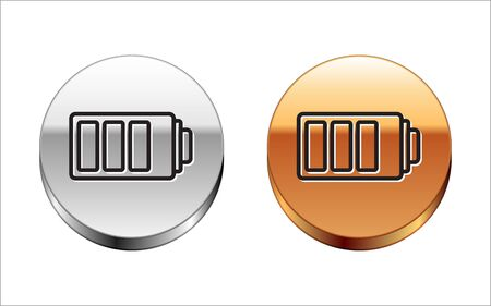 Black line Battery charge level indicator icon isolated on white background. Silver-gold circle button. Vector Illustration Ilustrace