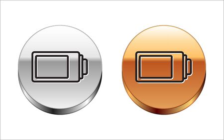 Black line Battery charge level indicator icon isolated on white background. Silver-gold circle button. Vector Illustration