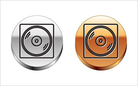 Black line Vinyl player with a vinyl disk icon isolated on white background. Silver-gold circle button. Vector Illustration
