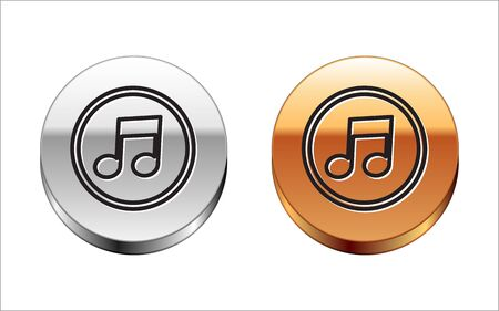 Black line Music note, tone icon isolated on white background. Silver-gold circle button. Vector Illustration