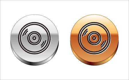 Black line Vinyl disk icon isolated on white background. Silver-gold circle button. Vector Illustration