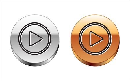 Black line Play in circle icon isolated on white background. Silver-gold circle button. Vector Illustration