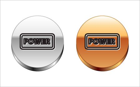 Black line Power button icon isolated on white background. Start sign. Silver-gold circle button. Vector Illustration