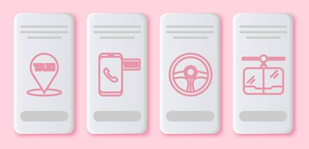 Set line Map pointer with taxi, Taxi call telephone service, Steering wheel and Cable car. White rectangle button. Vector