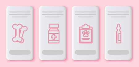 Set line Dog bone, Dog medicine bottle and pills, Clipboard with medical clinical record pet and Pets vial medical. White rectangle button. Vector Vettoriali