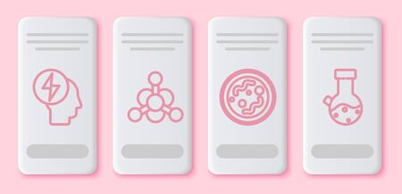 Set line Head and electric symbol, Bacteria, Bacteria and Test tube and flask chemical. White rectangle button. Vector