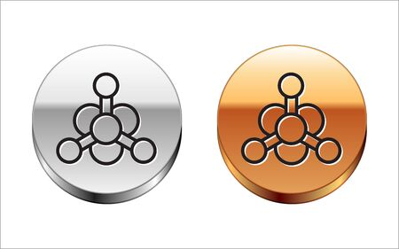 Black line Bacteria icon isolated on white background. Bacteria and germs, microorganism disease causing, cell cancer, microbe, virus, fungi. Silver-gold circle button. Vector Illustration