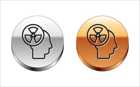 Black line Silhouette of a human head and a radiation symbol icon isolated on white background. Silver-gold circle button. Vector Illustration