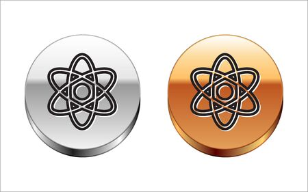Black line Atom icon isolated on white background. Symbol of science, education, nuclear physics, scientific research. Silver-gold circle button. Vector Illustration