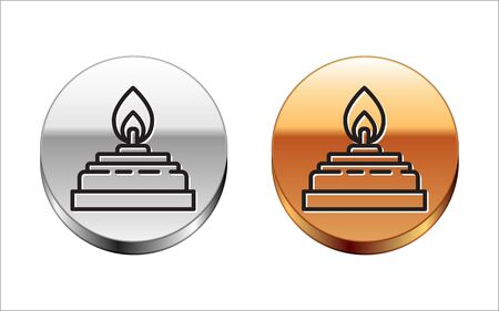Black line Alcohol or spirit burner icon isolated on white background. Chemical equipment. Silver-gold circle button. Vector Illustration