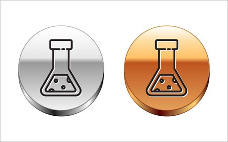 Black line Test tube and flask chemical laboratory test icon isolated on white background. Laboratory glassware sign. Silver-gold circle button. Vector Illustration