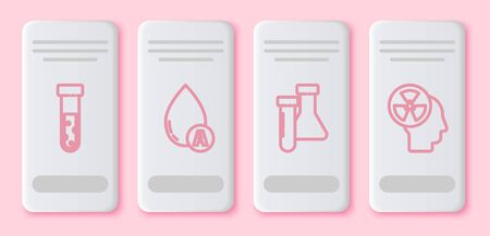 Set line Test tube and flask chemical, Water drop, Test tube and flask chemical and Human head and a radiation. White rectangle button. Vector