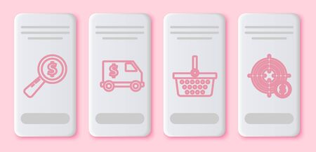 Set line Magnifying glass and dollar, Armored truck, Shopping basket and Target with dollar symbol. White rectangle button. Vector