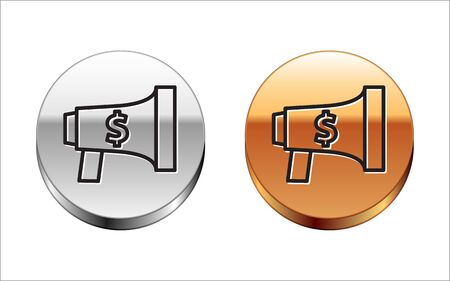 Black line Megaphone and dollar icon isolated on white background. Loud speach alert concept. Bullhorn for Mouthpiece scream promotion. Silver-gold circle button. Vector Illustration