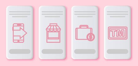 Set line Smartphone, mobile phone, Shopping building or market store, Briefcase and money and Trademark. White rectangle button. Vector