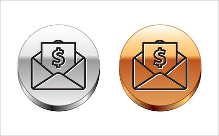 Black line Envelope with coin dollar symbol icon isolated on white background. Salary increase, money payroll, compensation income. Silver-gold circle button. Vector Illustration