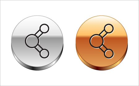 Black line Share icon isolated on white background. Sharing, communication pictogram, social media, connection, network, distribute sign. Silver-gold circle button. Vector Illustration