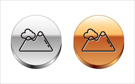 Black line Mountains icon isolated on white background. Symbol of victory or success concept. Silver-gold circle button. Vector Illustration Ilustração