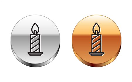 Black line Burning candle in candlestick icon isolated on white background. Cylindrical candle stick with burning flame. Silver-gold circle button. Vector Illustration
