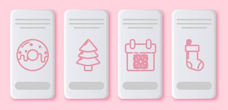 Set line Donut with sweet glaze, Christmas tree, Calendar and Christmas stocking. White rectangle button. Vector