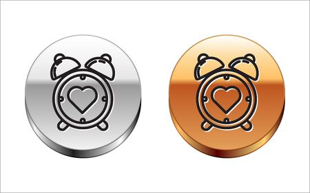 Black line Heart in the center alarm clock icon isolated on white background. Valentines day. Silver-gold circle button. Vector Illustration