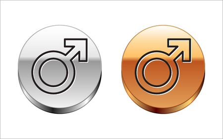 Black line Male gender symbol icon isolated on white background. Silver-gold circle button. Vector Illustration