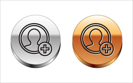 Black line Create account screen icon isolated on white background. Silver-gold circle button. Vector Illustration