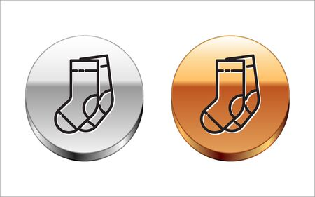 Black line Socks icon isolated on white background. Silver-gold circle button. Vector Illustration