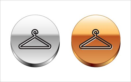 Black line Hanger wardrobe icon isolated on white background. Cloakroom icon. Clothes service symbol. Laundry hanger sign. Silver-gold circle button. Vector Illustration