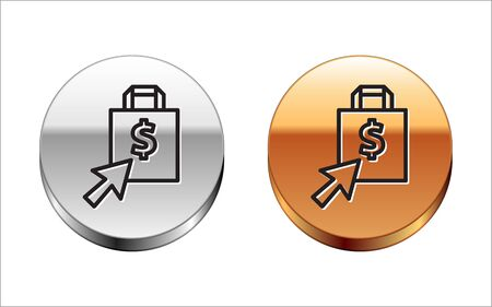 Black line Shoping bag and dollar icon isolated on white background. Handbag sign. Woman bag icon. Female handbag sign. Silver-gold circle button. Vector Illustration