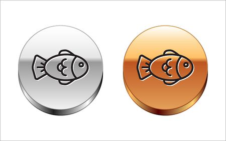 Black line Fish icon isolated on white background. Silver-gold circle button. Vector Illustration