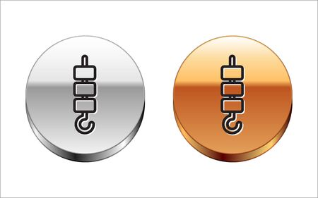 Black line Grilled shish kebab on skewer stick icon isolated on white background. Meat kebab on skewer stick. Picnic with grilled meat. Silver-gold circle button. Vector Illustration Çizim