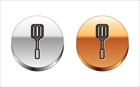 Black line Spatula icon isolated on white background. Kitchen spatula icon. BBQ spatula sign. Barbecue and grill tool. Silver-gold circle button. Vector Illustration