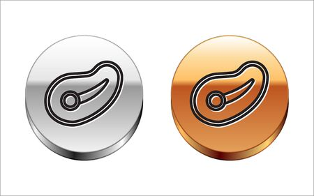 Black line Steak meat icon isolated on white background. Silver-gold circle button. Vector Illustration