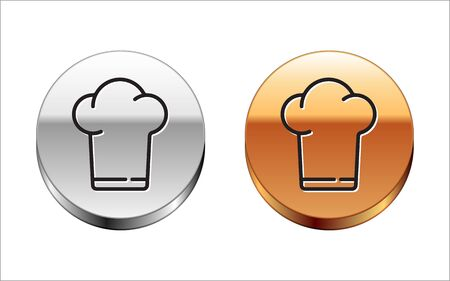Black line Chef hat icon isolated on white background. Cooking symbol. Cooks hat. Silver-gold circle button. Vector Illustration