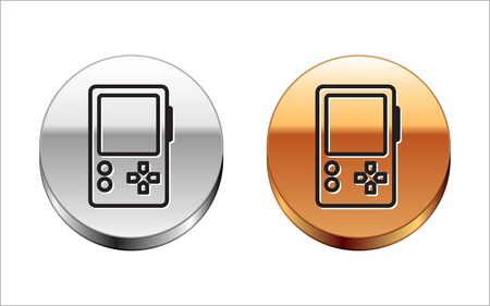 Black line Portable video game console icon isolated on white background. Gamepad sign. Gaming concept. Silver-gold circle button. Vector Illustration