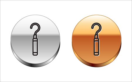Black line Dental explorer scaler for teeth icon isolated on white background. Silver-gold circle button. Vector Illustration