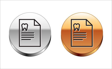 Black line Clipboard with dental card or patient medical records icon isolated on white background. Dental insurance. Dental clinic report. Silver-gold circle button. Vector Illustration