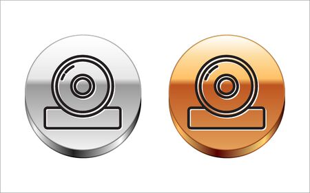 Black line Otolaryngological head reflector icon isolated on white background. Equipment for inspection the patients ear, throat and nose. Silver-gold circle button. Vector Illustration Ilustrace