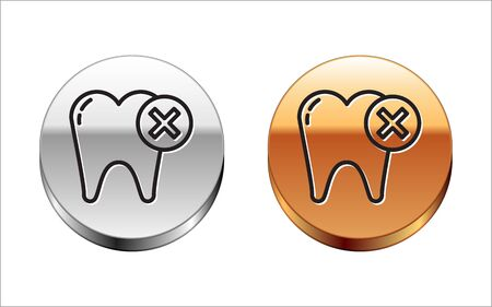 Black line Tooth with caries icon isolated on white background. Tooth decay. Silver-gold circle button. Vector Illustration