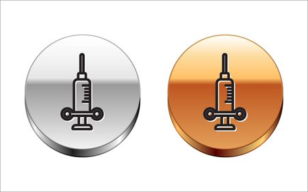 Black line Dental medical syringe with needle icon isolated on white background. Silver-gold circle button. Vector Illustration
