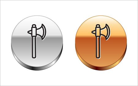 Black line Medieval axe icon isolated on white background. Battle axe, executioner axe. Silver-gold circle button. Vector Illustration