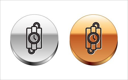 Black line Detonate dynamite bomb stick and timer clock icon isolated on white background. Time bomb - explosion danger concept. Silver-gold circle button. Vector Illustration