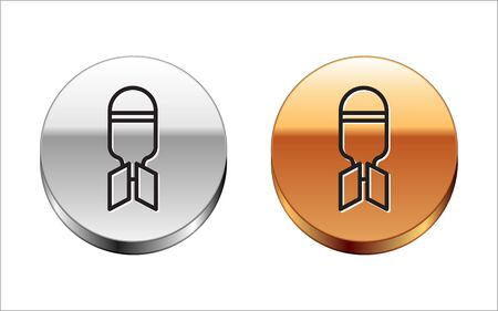 Black line Aviation bomb icon isolated on white background. Rocket bomb flies down. Silver-gold circle button. Vector Illustration Ilustração