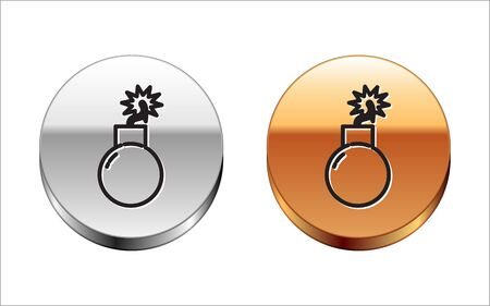 Black line Bomb ready to explode icon isolated on white background. Silver-gold circle button. Vector Illustration Ilustração