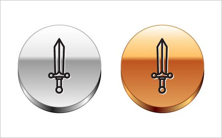 Black line Medieval sword icon isolated on white background. Silver-gold circle button. Vector Illustration