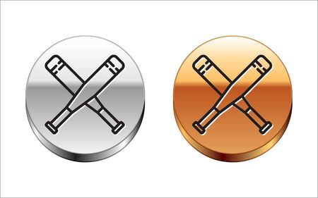 Black line Crossed baseball bat icon isolated on white background. Silver-gold circle button. Vector Illustration 向量圖像