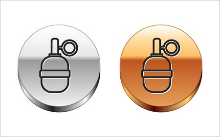 Black line Hand grenade icon isolated on white background. Bomb explosion. Silver-gold circle button. Vector Illustration Ilustração